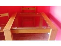 Wood and glass table for sale