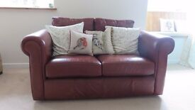 Brown leather 2 seater sofa and chair. Good condition, general wear marks only, smoke free home