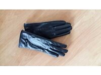 Womens Black Leather Next Winter Gloves size s/m