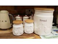 Hen bread bin, tea and coffee canisters
