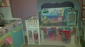 Beautiful barbie wooden house, furniture, dolls and accessories