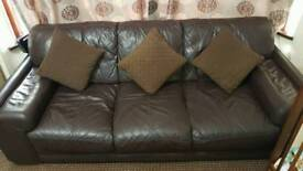 3 seater brown comfortable leather sofa