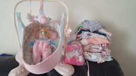 Baby Annabel doll, rocking crib, assessories and clothes