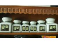 Set of 6 lidded jars