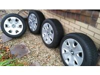 4 x Bridgestone winter tyres with 16in steel wheels & BMW Trims for BMW 1 Series