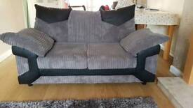 2x Two Seater Grey and Black couch/sofa
