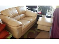 2 seater sofa and footstool cream leather