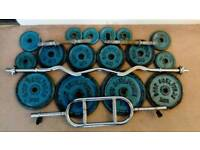 Body Sculpture metal weight plates 67kg and bars