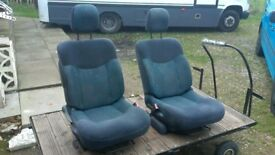 2 x Front Camper/Van Swivel Captain Seats. 180 turn base. VW T4 T5 Transit Ducato Sprinter etc