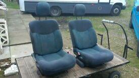 2 x Front Camper/Van Swivel Captain Seats. 180 turn base. VW T4 T5 Transit Ducato Sprinter etc