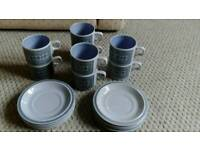 Hornsea Tapestry cups and saucers x 8