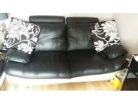 Black and white 3 seater and 2 seater faux leather sofa