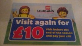 Legoland vouchers £10 entry