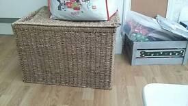 Wicker storage basket and bin
