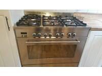 Gas range cooker and chimney hood