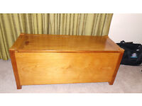 "Solid wooden Blanket Box. Approx 43""L x 19""D x 18""H."