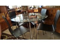 Modern Chrome & Glass Dining Table With 4 Brown/Black Chairs