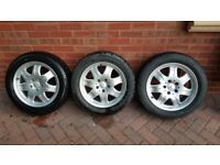 """Mercedes 16"""" Alloys with Michelin Pilot Primacy-205/55 R 16 91V x 3.no all as near New Quality"""