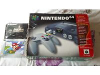 Boxed Black Nintendo 64 Console with Super Mario 64 and Star Wars Episode One Racer
