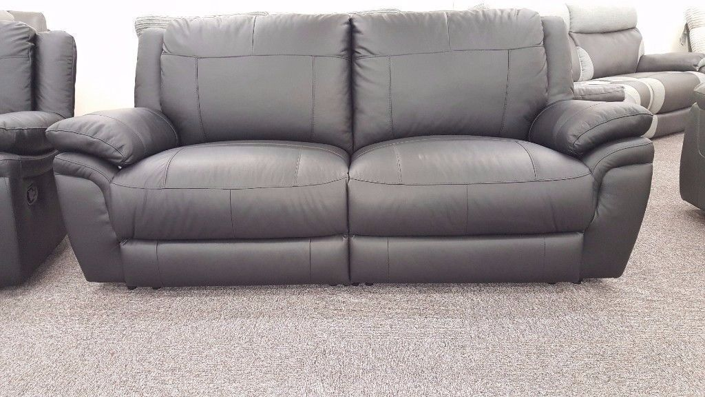SCS Libra Black Leather 3 Seater Manual Recliner Sofa Can deliver View/Collect Hucknall Nottingham