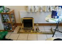 FLAME EFFECT GAS FIRE, SOLID BRASS SURROUND AND ATTACHMENTS