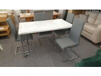 Positano Dining Table & 4x Roma Fabric Cantilever Dining Chairs Can Deliver