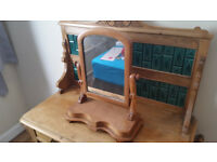 Waxed pine washstand and small waxed pine free standing mirror.