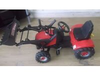 Toddler Pedal red with front loader and trailer for sale