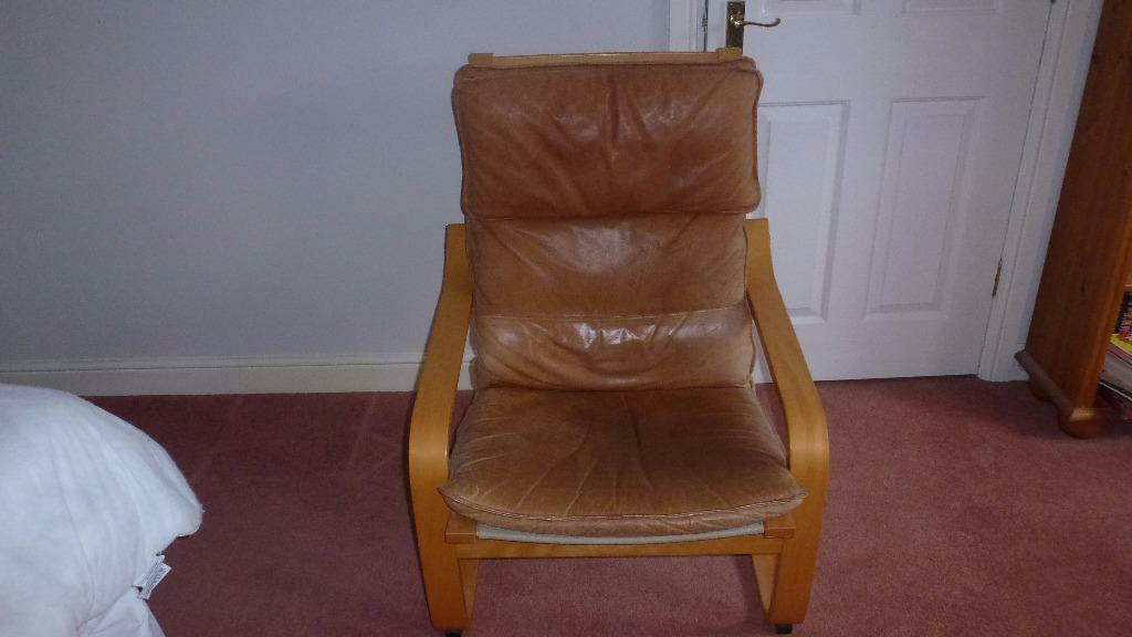 Ikea poang chair brown leather in bicester oxfordshire for Ikea poang leather