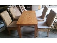 Ashdon Solid Wood Table & 4 Rattan Chairs