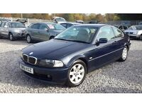BMW 3 SERIES 2494cc PETROL,COUPE,**66K**LOW MILEAGE, AUTOMATIC,BLUE,2001(51), MOT 26 May 2017