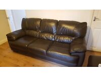 Leather 3-seater sofa and footstool - lovely and very comfortable