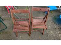2 wooden garden chairs