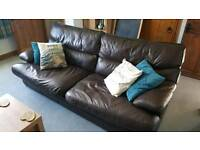 Brown Leather Large 2 Seater Sofa for sale