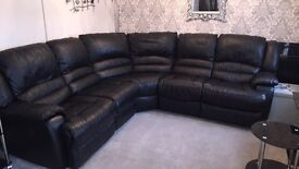 Black leather dfs recliner sofa
