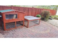 2 Storey outdoor rabbit hutch and built on run