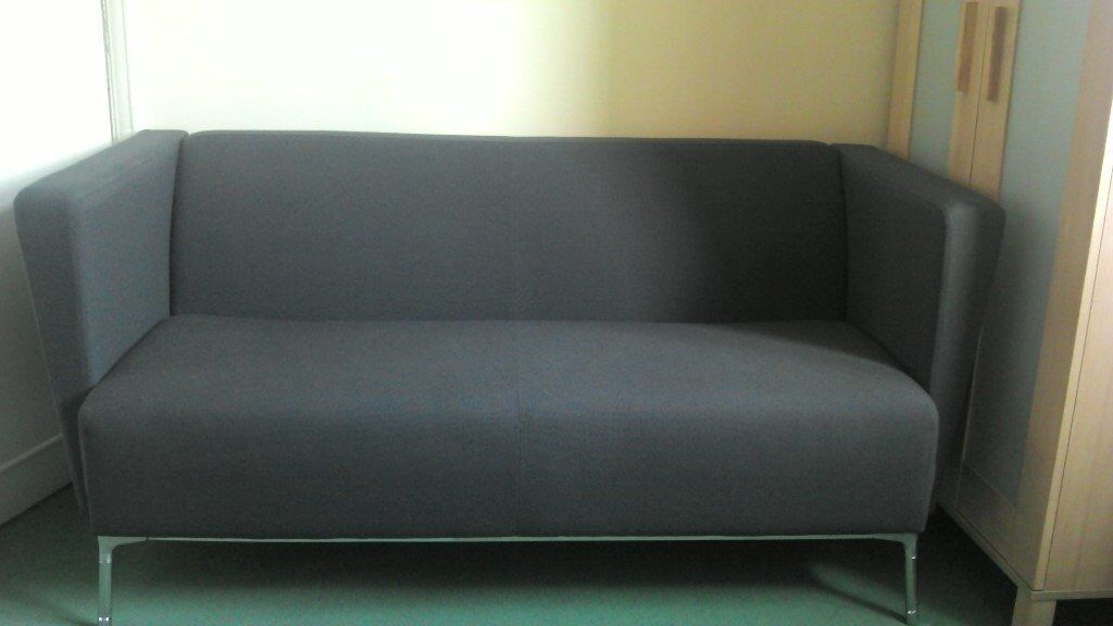Grey Fabric 2 Seater Sofa For Living Room Office Waiting Area Reception