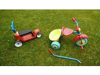 Little Tikes 2in1 scooter - ride on and TJ Morris (push) tricycle - trike