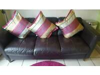 Brown Leather Sofa 3 Seater & 1 Single Chair