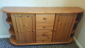 Wood Side Board/Drawers