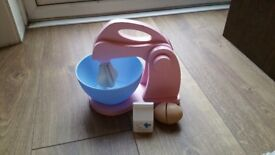 Wooden play food mixer toy & accessories