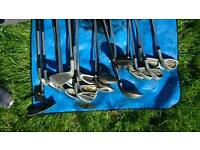 19x assorted golf clubs