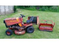 Westwood lawn tractor with cutting deck and sweeper