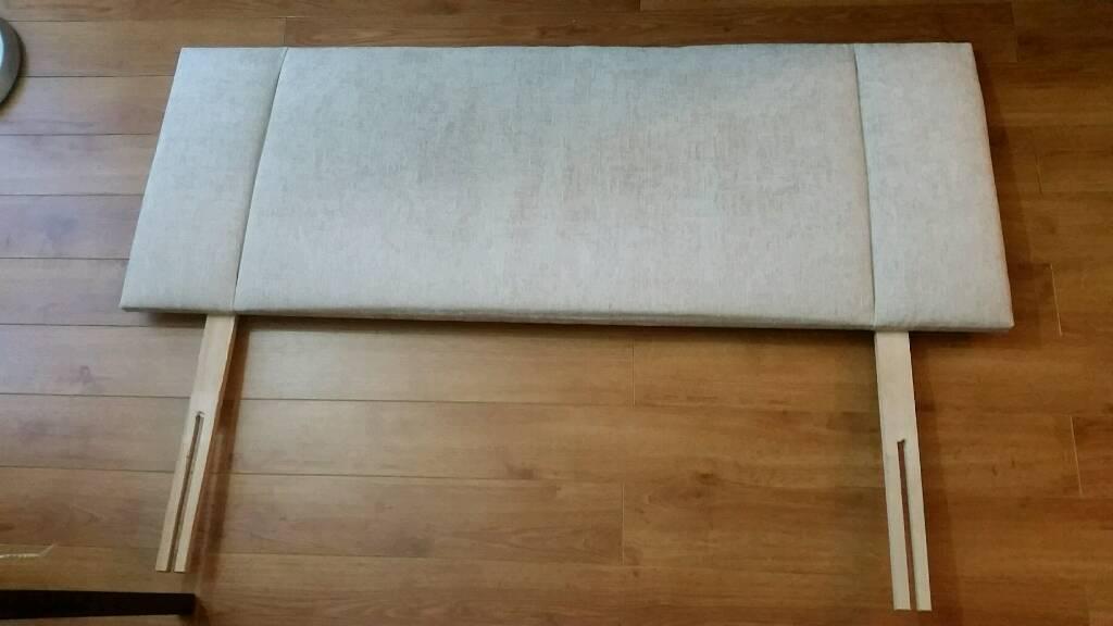 Fabric double bed head - beige
