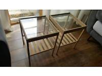 2 Wooden/glass beside tables from Ikea