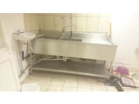 Stainless Steel Kitchen Sink unit with tap, ideal for cafes etc.