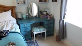 Blue Shabby Chique Dressing Table, Mirror and Stool