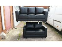 BUY 3 SEATER MAXI £249 GET 2 SEATER ABSOLUTELY FREE!! ONLY BLACK COMPACT SOFA IN HIGH QUALITY PU