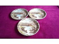 Three Small Vintage Alfred Meakin Tintern Brown Transfer Ware Plates-Proceeds To Local Charity