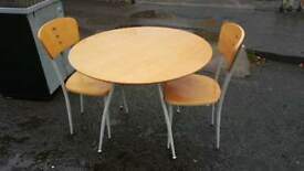 Beechwood and chrome table and 2 chairs